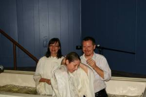 One of many baptisms....it should also be said that Dallas let me baptized a number of times so I could practice in the new tank.