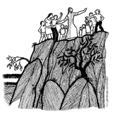 Image result for crowd pushes jesus to cliff